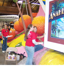 anchero Middle School Builders Club members work on one of the many floats destined for the 2007 Rose Bowl Parade.